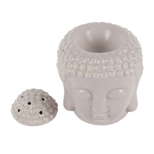 Grey Buddha Head wax melt Burner, no lid view