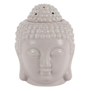 Grey Buddha Head wax melt Burner, front view