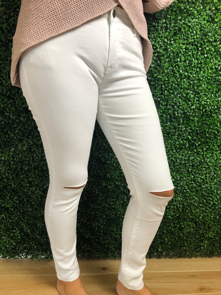 In Your Dreams - Cheeky knee Jeans White