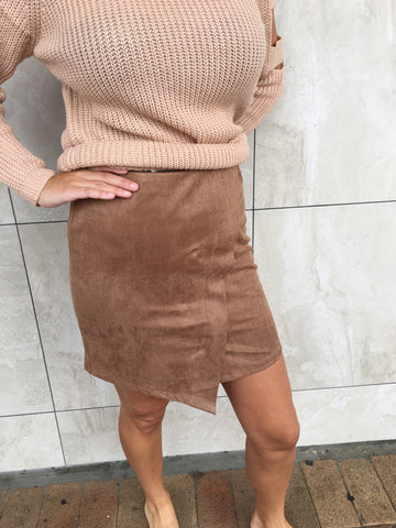 Suedette skirt tan