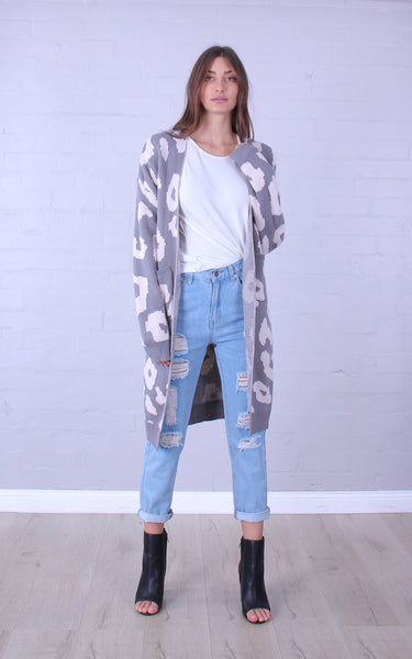 Wild child cardigan - long line - grey