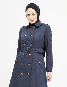 Trench Coat -  7477 - NAVY