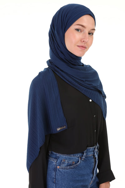 Striped SHAWL - 503-  NAVY