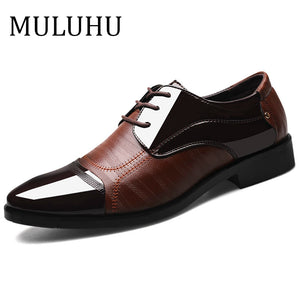 Bend the Trend mulawin Spring Autumn Men Shoes Leather Business Oxford Leather Shoes Office Wedding Lace Up Flat Shoes Plus Size 38-48