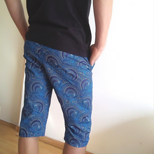 Load image into Gallery viewer, Teal peacock shweshwe shorts