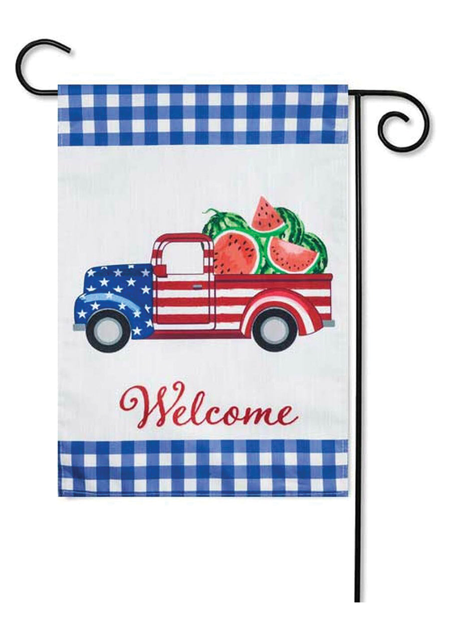 Patriotic Watermelon Truck Garden Strié Flag