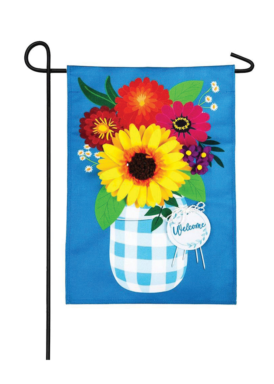 Plaid Mason Jar with Flowers Garden Burlap Flag