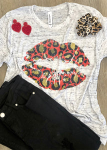 Red Cheetah Lips Sublimated Tee