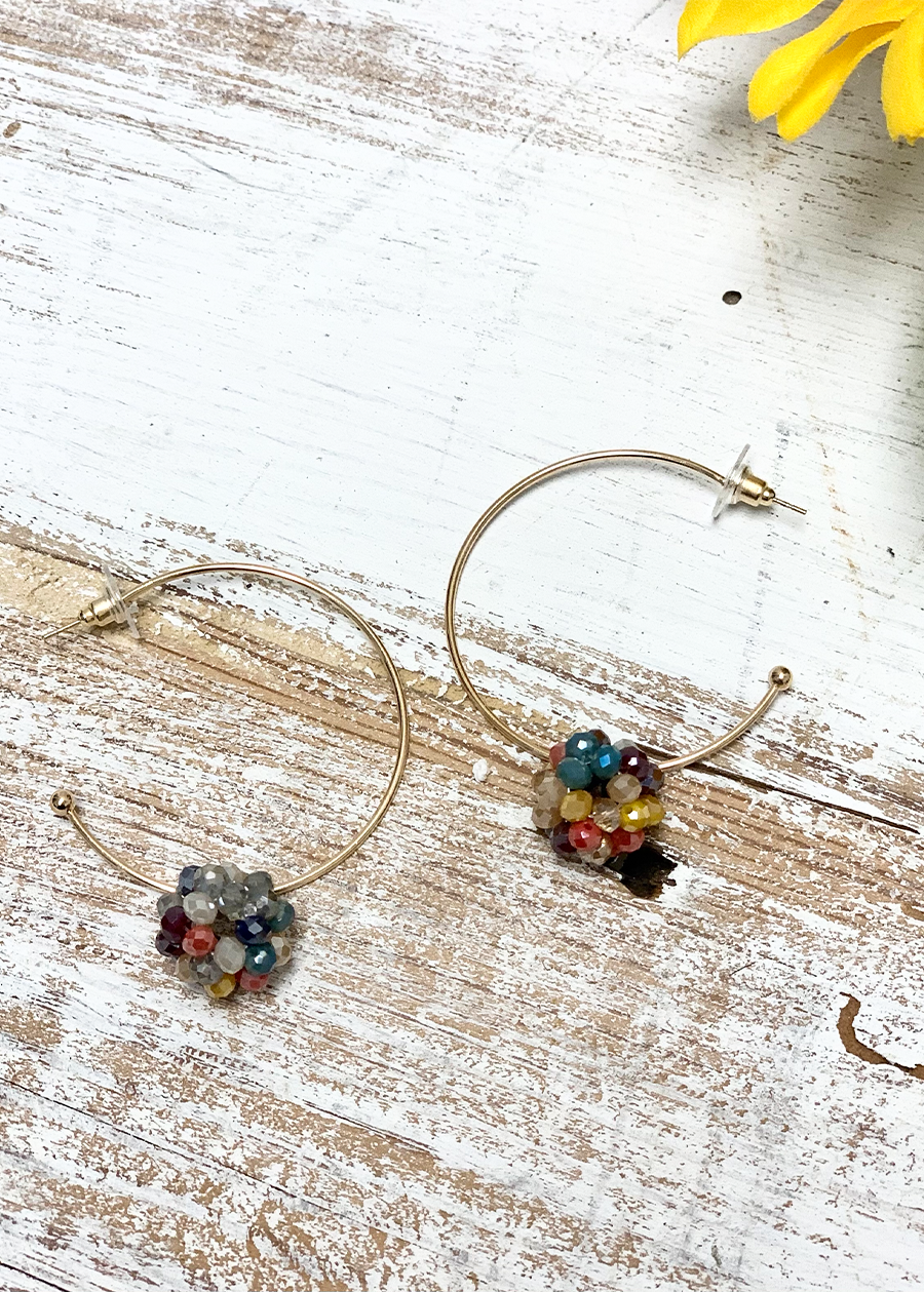 Multi Crystal Ball Hoops