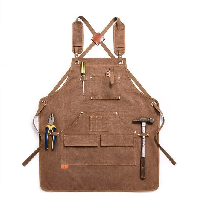 Canvas Work Apron With Tool Pockets