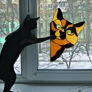 Funny Cat Glass Window Decor