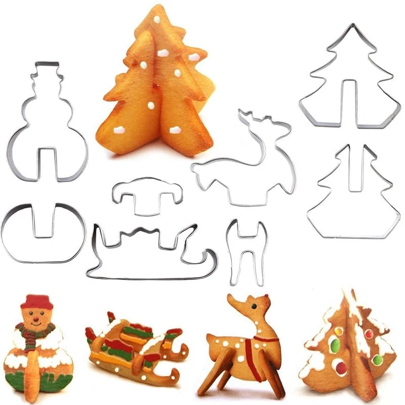 3D Christmas Cookie Cutters (8pcs)