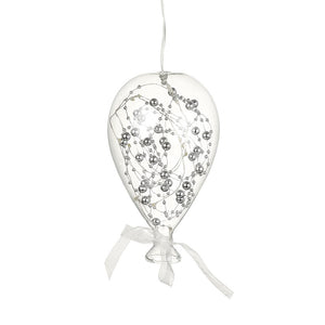 Glass balloon with LEDs and silver beads