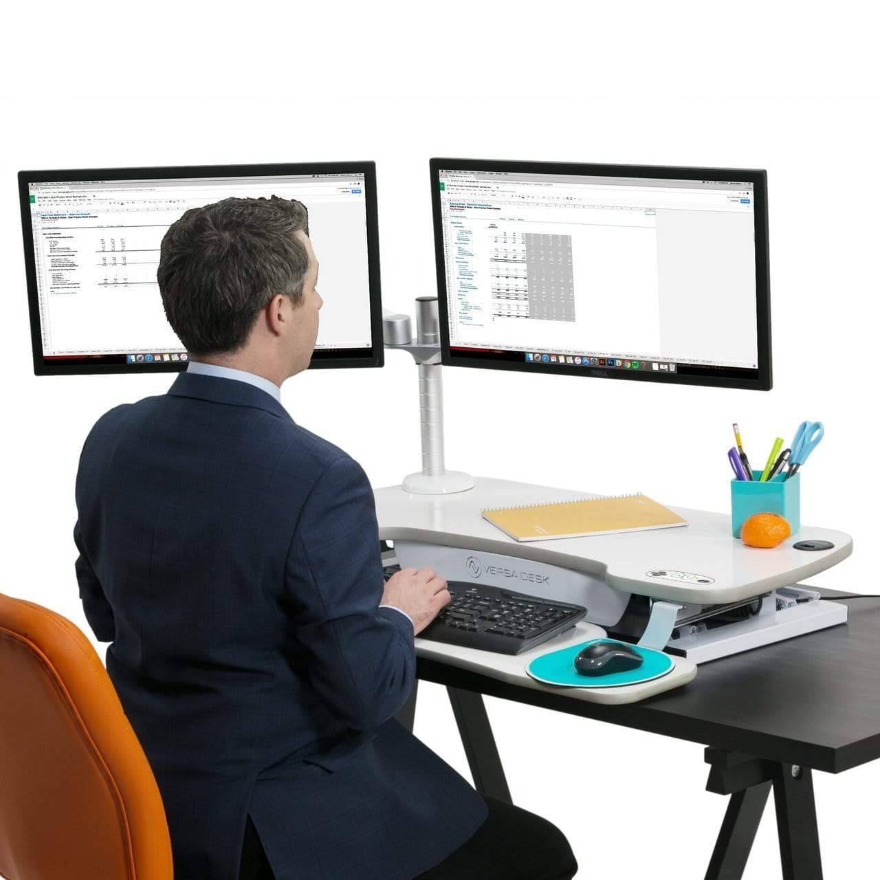 "Versa Desk VersaDesk PowerPro® Elite Adjustable Standing Desk Converter desk converter 36"" / Basic / Black"