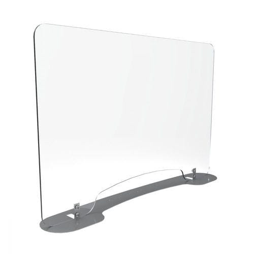 "Versa Desk VersaDesk Sneeze Guard With Metal Base And Pass Through Window accessory 36""x 24"" / Silver / none"