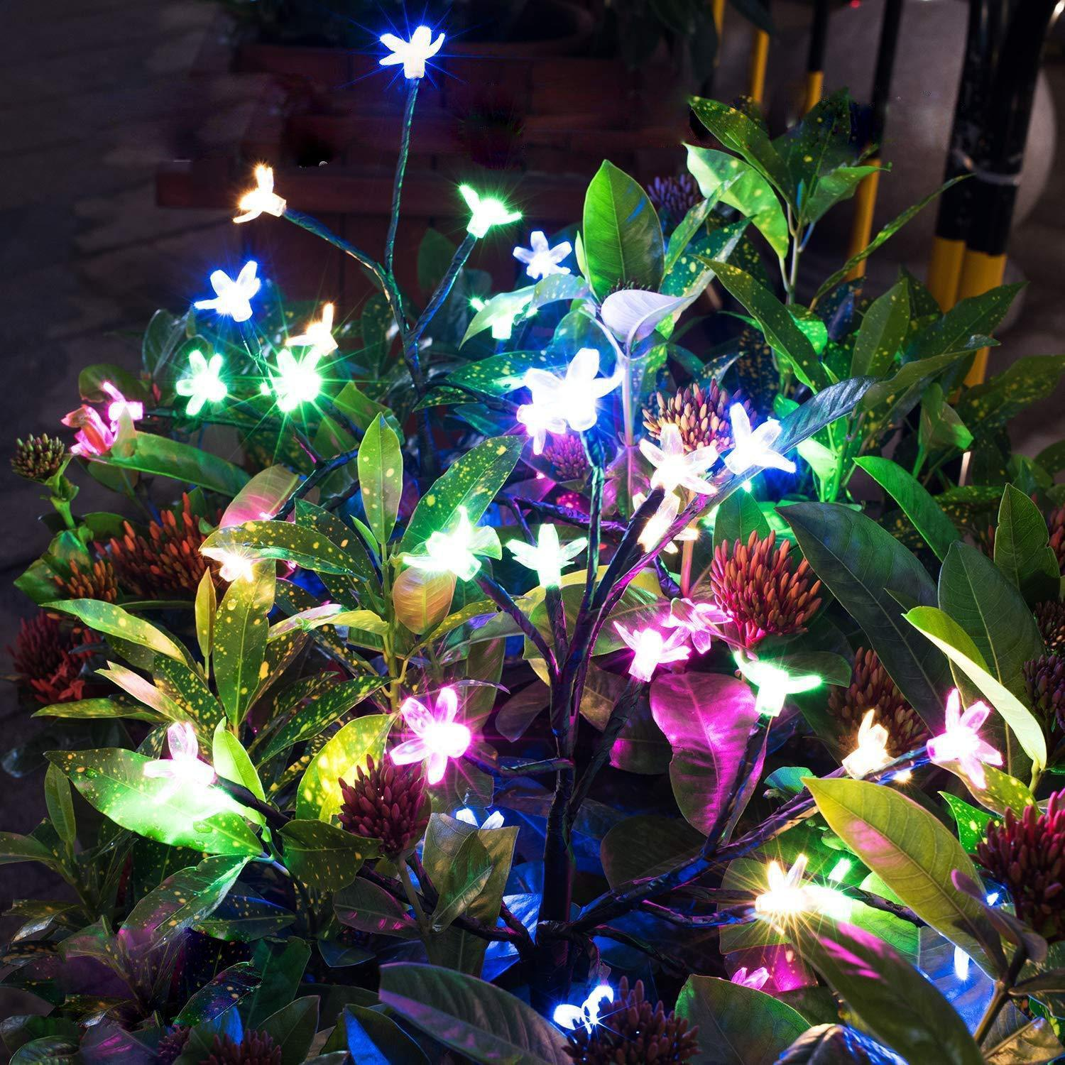2 Pack - Solar Powered Fairy Flower Lights