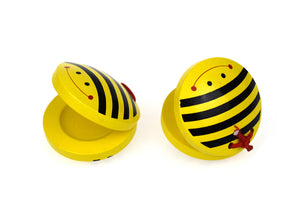 Wooden bee castanets x 2