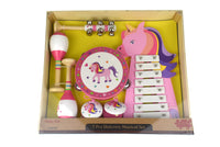 7 Pce unicorn wooden musical set