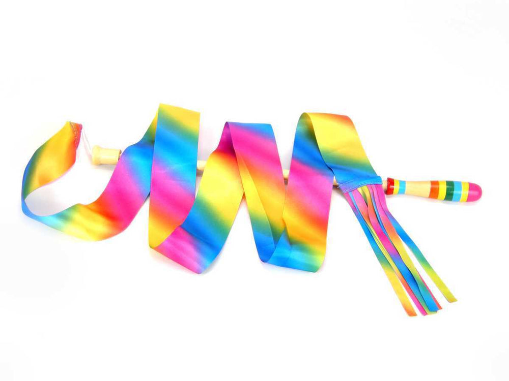 rainbow dancing ribbon with qooden stick