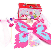 Wooden and felt fairy playset in tin carry box