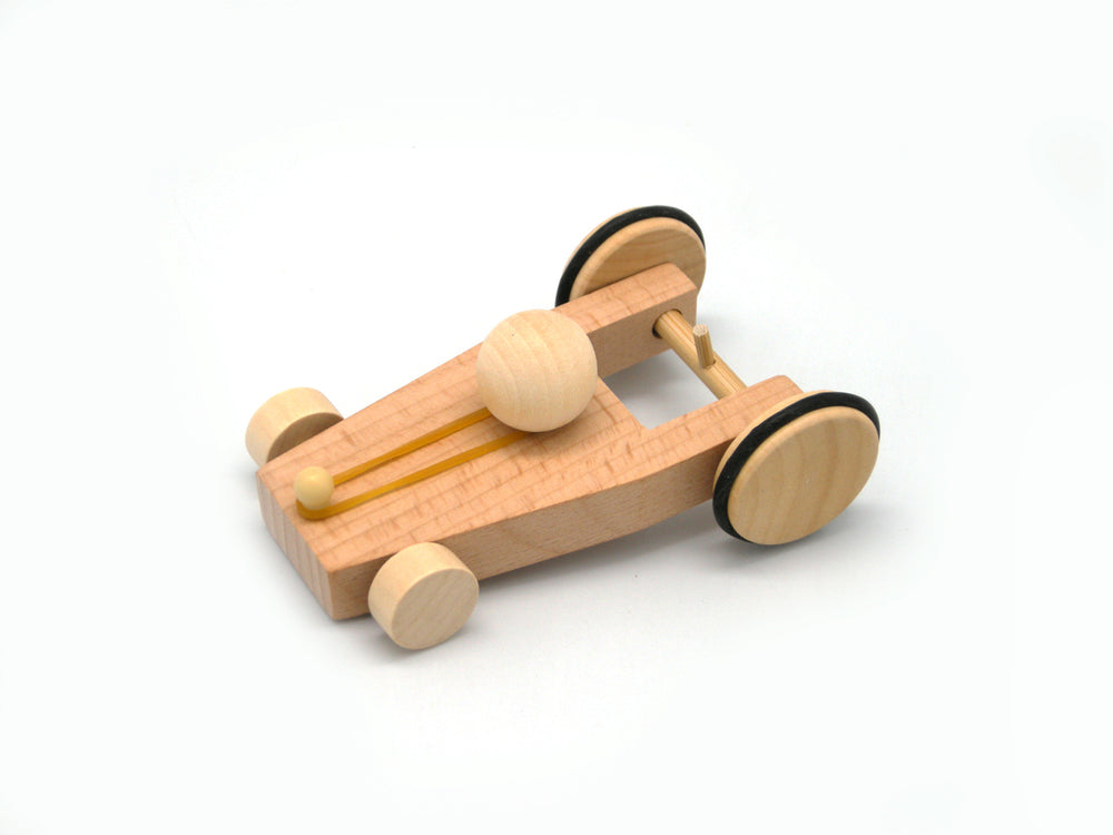 DIY wooden bungee powered car