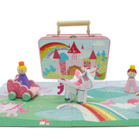 wooden unicorn playset in lovely tin case