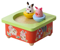 Wooden farm animal music box