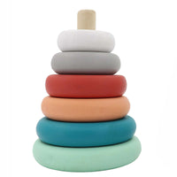 Wooden stacking tower - terracotta pastel