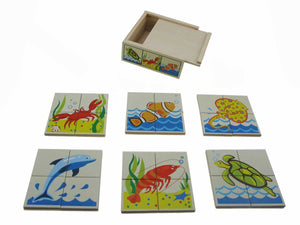 Sea animal puzzles with wooden box
