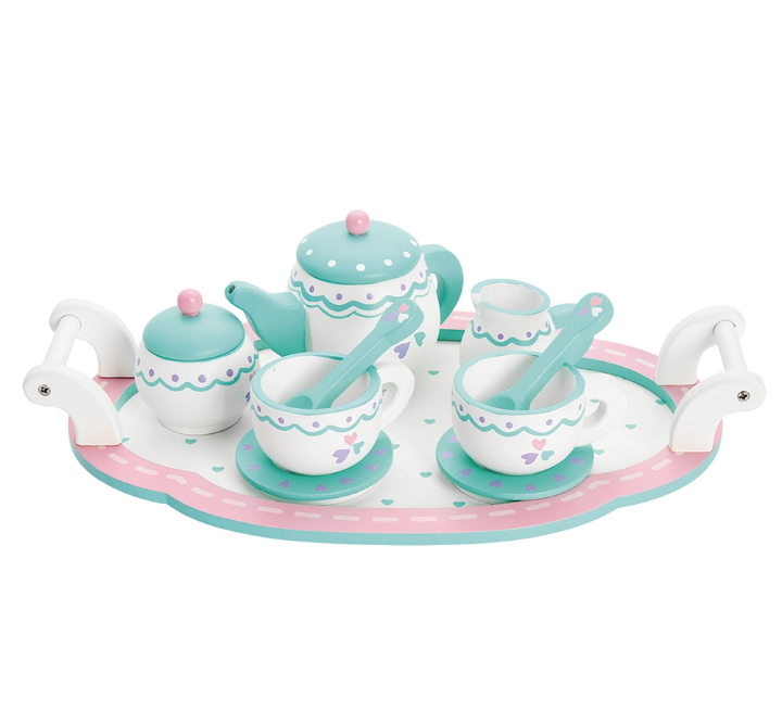 Wooden blue tea set