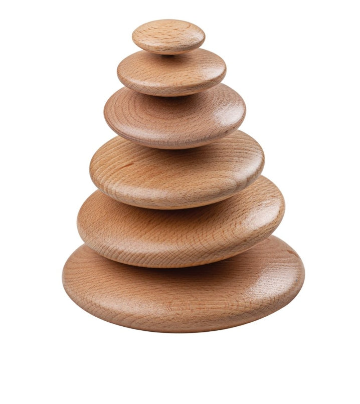 Bigjigs wooden stacking pebbles natural