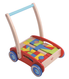 Baby walker with blocks.