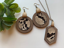 Load image into Gallery viewer, Snake Skin Brown and Beige Faux Leather Earrings and Necklace Set