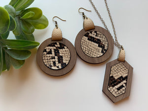 Snake Skin Brown and Beige Faux Leather Earrings and Necklace Set