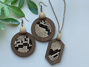 Snake Skin Faux Leather Earrings and Necklace Set