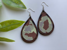 Load image into Gallery viewer, Walnut Wood and Camo Print Leather Earrings