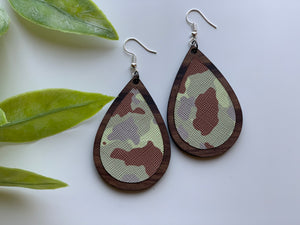 Walnut Wood and Camo Print Leather Earrings