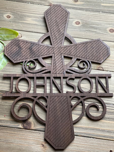 Personalized Split Letter Wooden Cross