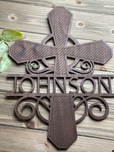 Load image into Gallery viewer, Personalized Split Letter Wooden Cross