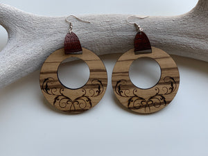 Zebra Wood Boho Dangle Hoop Earrings