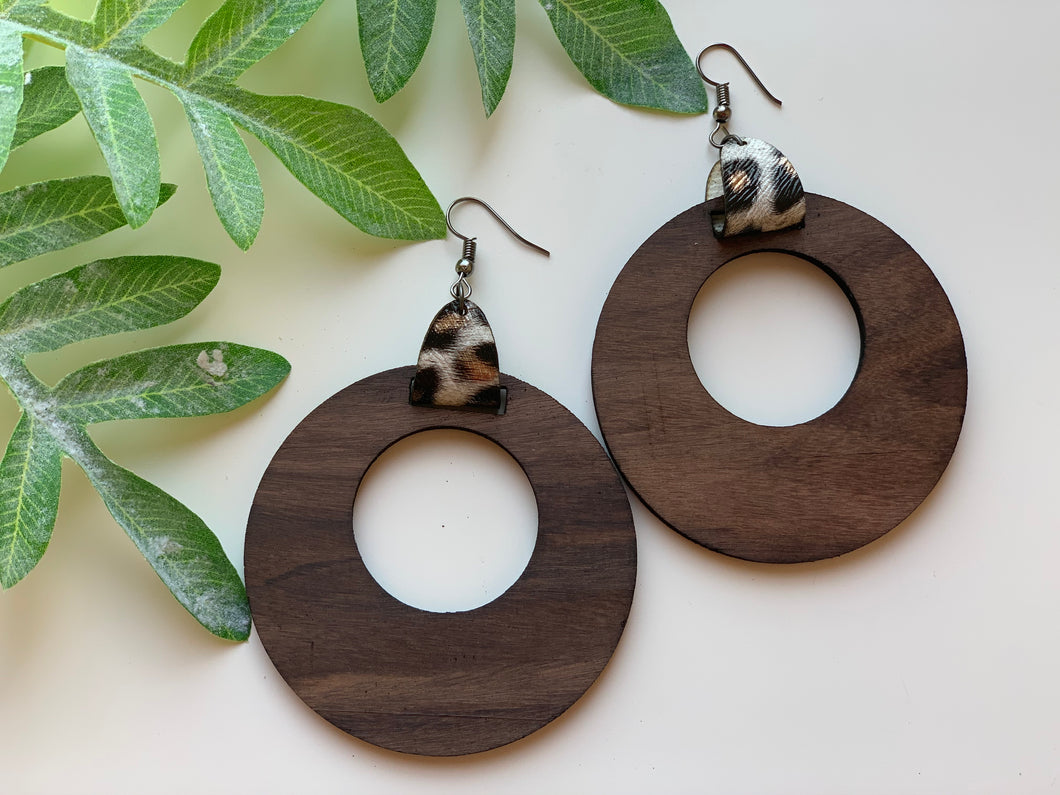 Dangle Hoop Earrings Walnut Wood