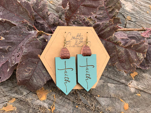 Faith Distressed Turquoise Wood Earrings