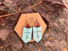 Load image into Gallery viewer, Turquoise Custom Engraved Faith Earrings - Earrings With Custom Engraved Faith
