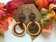 Load image into Gallery viewer, Fall Hoop Dangle Brown Yellow and Rust Earrings