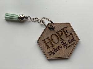Wood Keychain Custom Engraved Hope Anchors The Soul