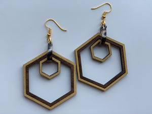 Hexagon Nested Shape Wood Earrings