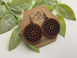 Wood Mandela Circle Shape Earrings - The Jessica