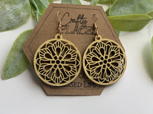 Load image into Gallery viewer, Wood Mandela Circle Shape Earrings - The Jacob