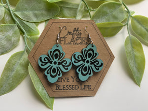 Fleur De Lis Wood Mandela Earrings