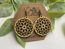 Load image into Gallery viewer, Wood Mandela Circle Shape Earrings - The Jessica